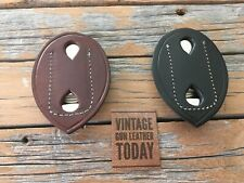 Vintage Alfonsos Leather Police Badge Holder W Clip Shield Style 3 34 X 2 34