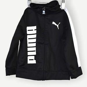 Puma Infant Jacket 12M Black White Logo Front Full Zip Long Sleeve