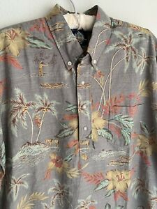 NWT L Reyn Spooner Hawaiian Pullover Button Shirt Tropical Brown Palm Hermanos