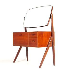 Retro Vintage Danish Teak Dressing Table Desk Dresser Chest 1970s Vanity Mirror