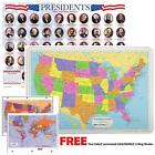 Painless Learning Educational Placemats USA Map And Presidents FREE 3Ring Binder