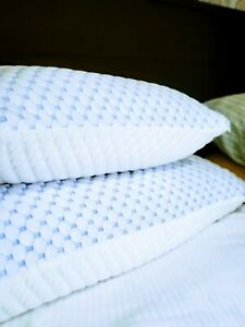 🥇#1 Bed Pillow w/ Cooling Bamboo Washable Cover, No Pillowcase Needed Queen 2pk