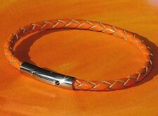 Mens / ladies 4mm Orange leather & stainless steel bracelet by Lyme Bay Art