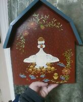 Folk Art Primitive Painting Duck and Ducklings Vintage Funny Decoration Signed