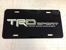 Toyota TRD Sport Car Tag Diamond Etched on Black Aluminum License Plate