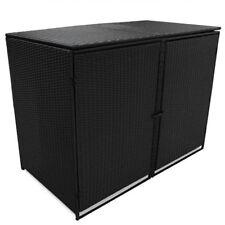 vidaXL Mülltonnenbox für 2 Tonnen Poly Rattan Schwarz 148x80x111 cm Müllbox