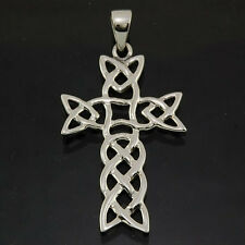 Sterling Silver 925 Small Celtic Knot Vintage Cross Pendant Black Lace Necklace