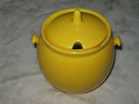 A 1960's Retro Yellow Glaze Japanese Ceramic Lidded Sugar Bowl
