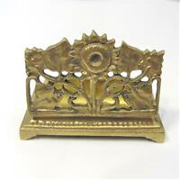 Vintage Art Nouveau Brass Sunflower 2 Stamp Roll Coil Holder Desk Accessories