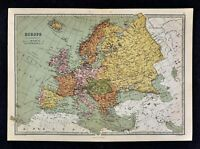 1876 Bartholomew Map - Europe - Spain Italy France Germany Austria Russia Sweden