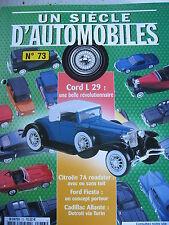 FASCICULE UN SIECLE D'AUTOMOBILES  73 CORD L29 RENAULT XB TRACTION 7 ROADSTER