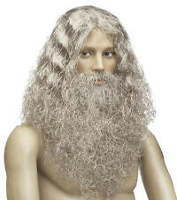 Mens Grey Caveman Wig & Beard Stoneage Moses Wizard Troll Fancy Dress