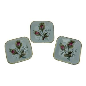 """Lot 3 Meakin Ironstone Butter Pats Moss Rose Antique Hand Painted 2.5"""" Square"""
