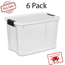 6 PACK Large Storage Box 30 Qt Plastic Basket Container Case Bin Clear Organizer