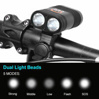 2400 LM IPX6 Double LED Built-in Rechargeable Battery Bike Bicycle Head Light SD