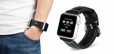 Black Leather Watch Strap Band for Apple Watch iwatch 42mm Series 1 2 3 Silver