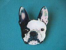 French Bulldog Face Brooch Dog Badge Puppy Acrylic Shaped Pin Black White