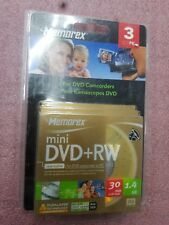 Memorex Mini DVD-RW Rewritable for Camcorder or PC 3 Pack Scratch Resistance