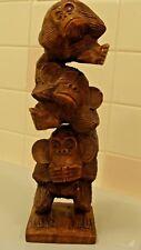 "Hand Carved 3 Wise Monkeys See No-Hear No-Speak No-Evil Sculpture 12.5"" Tall"