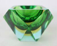 Vintage Murano Mid Century Faceted Sommerso Italian Art Glass Diamond Ashtray