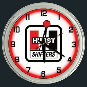 """16"""" Hurst Shifters Sign Red Neon Clock Chrome Case"""