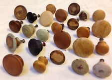 Mixed Lot 24 Antique Distressed Round Painted Primitive Wood Knobs Drawer Pulls