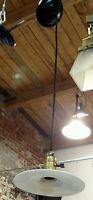 Reclaimed Vintage Industrial Hang Light w/ Flat Lamp Shade Milk Glass #2