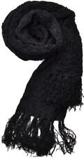 Charter Club Womens Scarf Black Soft Chenille Oblong Textured Fringed NWT