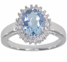 Blue Topaz Oval Gemstone Diamond 14ct White Gold Ring size N