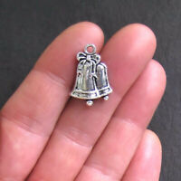 XC032 5 Christmas Bells Charms Antique Silver Tone