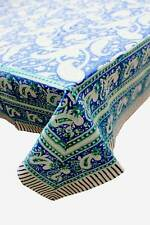 Hand Block Print Indian Tablecloth 100%cotton Floral Rectangular 150*220cm Blue