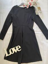 M&S 8 10 14 16 18 22 black smart work office business career flare stretch dress