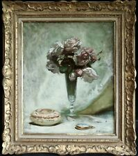 PIERRE BONNAUD (1865-1930) SIGNED FRENCH IMPRESSIONIST OIL CANVAS FLOWERS VASE