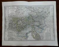 Austria Tyrol Istria Northern Italy Lombardy Venice 1862 Stieler detailed map