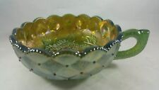 """VTG.  """"IMPERIAL"""" GREEN CARNIVAL GLASS, PANSIES & DIAMOND QUILT,  NAPPY BOWL EXC."""