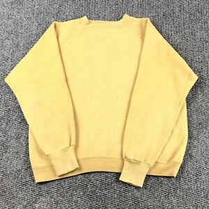 VTG 50s 60s Sportswear Gusset Crew Neck Pullover Sweat Shirt Fits Small Yellow