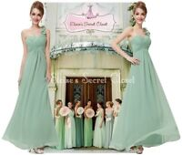 ELODIE Sage Green Corsage Chiffon Evening Bridesmaid Maxi Dress UK Sizes 8 - 20