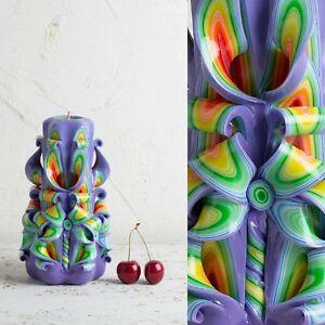 Amazing Purple Candle Carving Multicolor Christmas Xmas Table Votive EveCandles