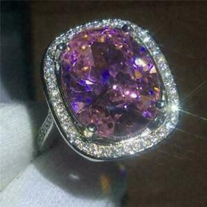 Halo Engagement Ring 14K White Gold Fn 4.50Ct Oval Cut Purple Amethyst & Diamond