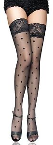 SEXY Stockings SPOTTED Black in Sheer Net with Spots, Very Sexy 6 -16 Lena