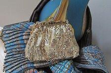 Whiting & Davis Gold-tone Chain Mesh Small Metallic coin framed Handbag Purse
