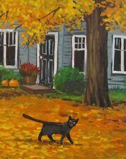 8X10 PRINT OF PAINTING RYTA WITCH BLACK CAT AUTUMN LANDSCAPE HALLOWEEN SUNSET
