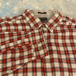 Eddie Bauer Sz L-Tall (18-35) Handsome Red Plaid Button Down Men's Shirt