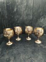 Vintage Set of 4 EPNS Light gold coloured silver Plated Wine goblets