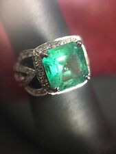 18k White Gold 2.42ct 8.8mm Columbian Emerald and 0.5cttw Diamond Ring
