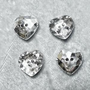 "New 4 Diamante Sparkle Silver Heart Buttons 1/2"" 2 holes Faux Rhinestone"