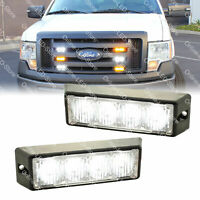 2pc 4W White LED Strobe Warning Grille Lights for Cars Trucks Emergency Vehicles