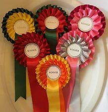 6 x 2 tier winner rosettes (wide 38mm ribbon) *FREE POSTAGE*