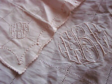 Vintage LACE Antique Monogram LOT 2 Embroidered Hankies Dresser Scarf Tablecloth