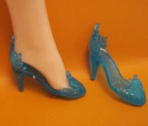 1990s ice shoes BARBIE DOLL Heel Dress Pumps translucent blue frozen elsa style